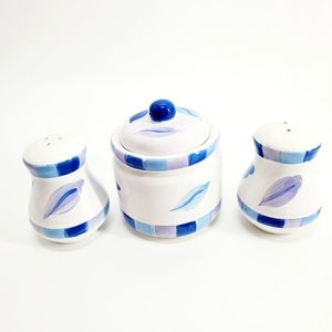 Royal Norfolk Blue & White 3 Piece Sugar S&P Set